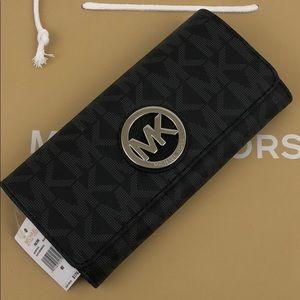 Michael Kors Fulton Signature PVC Black Wallet New